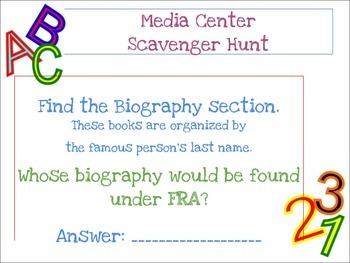 Media Center Orientation Scavenger Hunt