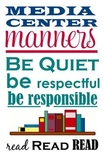Media Center Rules Subway Sign (library manners)