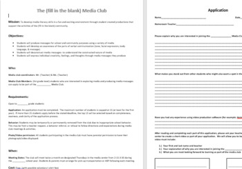 Media Club or AV Club charter Document and Application
