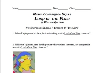 Media Comparison Questions: Lord of the Flies and the Simpsons: S9 E14