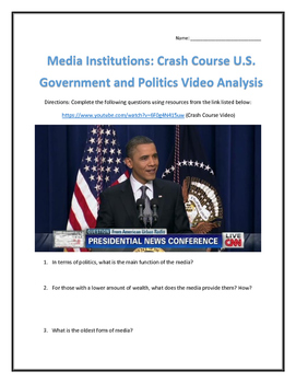 Media Institutions: Crash Course U.S. Government and Politics Video Analysis