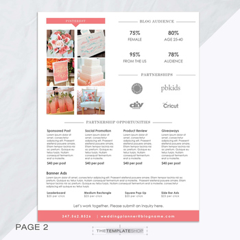 Kit Template  Page  Blog Media Kit  Press Kit Template  Ms Word