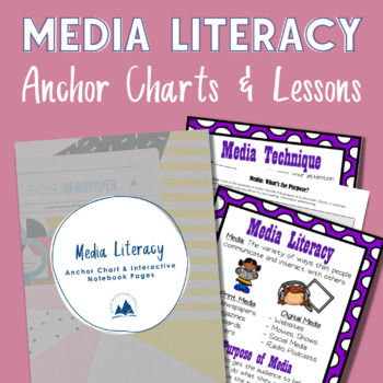 Media Literacy Anchor Chart, Interactive Notebook Pages, a