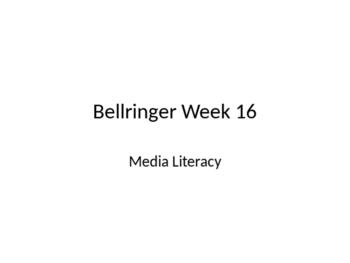 Media Literacy Bellringers