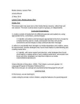 Media Literacy Blog Lesson Plan