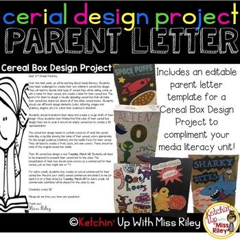 Media Literacy: Cereal Box Design Project Parent Letter {E