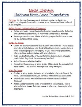 Media Literacy - Children's Movie Scene Presentation