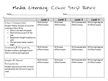 Media Literacy: Comic Strip Rubric