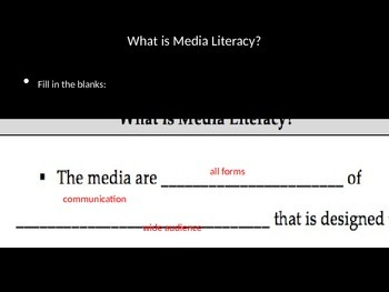 Media Literacy Day 1 - Introduction Lesson