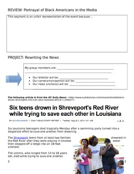 Media Literacy Day 8 EXTENSION PROJECT - Rewriting a News Story
