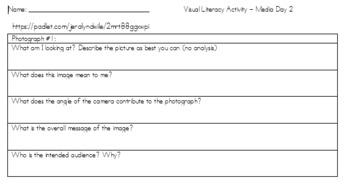 Media Literacy Lesson - Analyzing Visual Media Sources