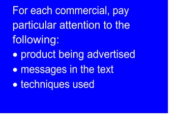 Media Literacy - Looking at TV Commercials