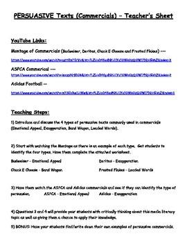 Media Literacy - Persuasive Texts (Commericals) - Junior or Special Education