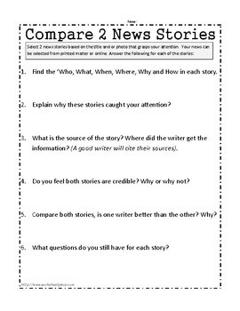 Media Literacy Worksheets and Task Cards by Worksheet Place | TpT