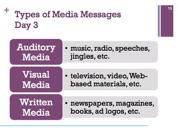 Media Messages (Video, Audio, Print) PowerPoint with Graphic Organizer