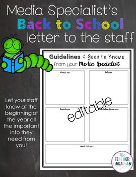 Media Specialist Back to School Letter to Staff -editable