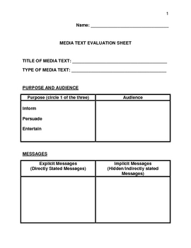 Media Text Evaluation Sheet