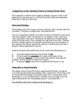 Media Unit. Directorial Techniques in Saving Private Ryan