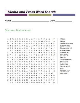 Media and Press Word Search