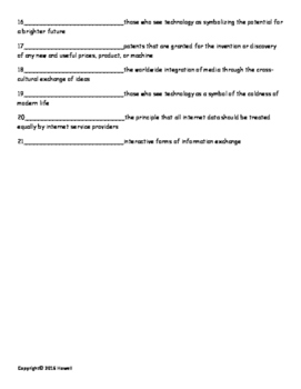 Media and Technology Quiz or Worksheet for Sociology