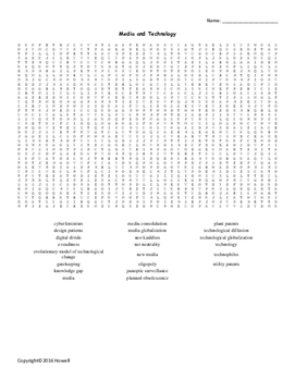 Media and Technology Vocabulary Word Search for Sociology