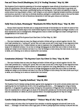 Civil Rights Era: Media and reaction after Brown vs Board of Education DBQ