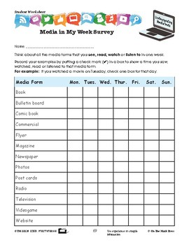 Media in My Week Survey Lesson Plan Grades 2-3 - Aligned to Common Core