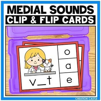 CVC Words Medial Sounds Clip Cards Center