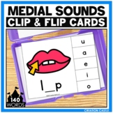 CVC Words Medial Sounds Clip Cards Center