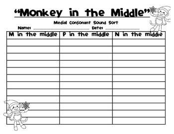 Medial Consonant Sound Sort - Monkey in the Middle