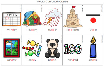Medial & Final Consonant Cluster Articulation Cards