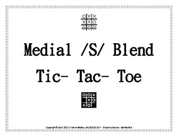 Medial /S/ Blend Tic Tac Toe Articulation and Language Activity