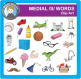Medial  /S/ words Clipart in Color and B&W