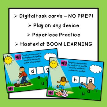 Medial Short Vowel CVC Words - Drag and Drop Digital BOOM Task Cards {NO PREP!}