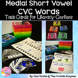 Medial Short Vowel CVC Words-Real Photo Task Cards for Lit