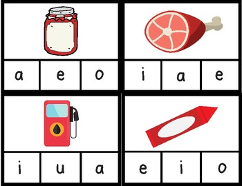 Medial Sound Clip Cards - short vowel sounds