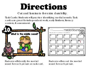 Medial Sound Task Cards