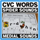 Medial Sounds Center with CVC Words - Spider Sounds