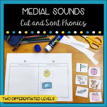 #endoftermdollardeals Medial Sounds Cut and Sort Booklet
