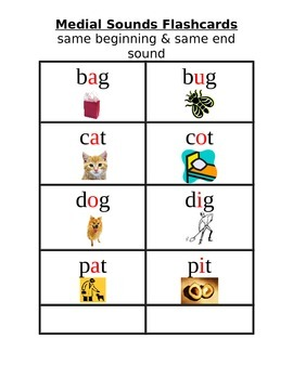 Medial Sounds Flashcards (same beginning & same end sound)