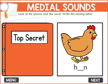 Medial Sounds Game -  Phonics Game for Smartboards & Whiteboards