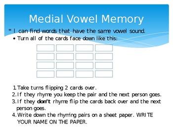 Medial Vowel Memory Game