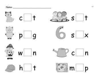 Medial Vowel Sound Picture Cards and Worksheet Packet