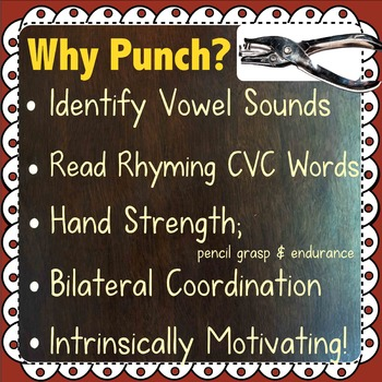 Medial Vowel Sounds: CVC Hole Punch Task Cards - 4 Activities