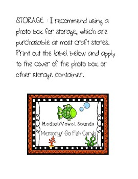 Medial/Vowel Sounds Memory/Go Fish Cards - Phonological Awareness Activity