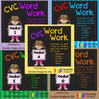 Medial Vowels CVC Word Work Bundle