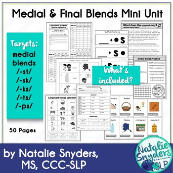 Medial and Final Consonant Blends Mini Unit for SLPs