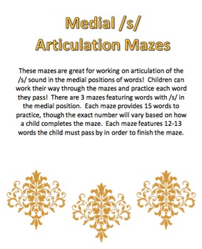 Medial /s/ Articulation Mazes