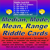 Median, Mode, Mean, Range Riddle Card Challenge
