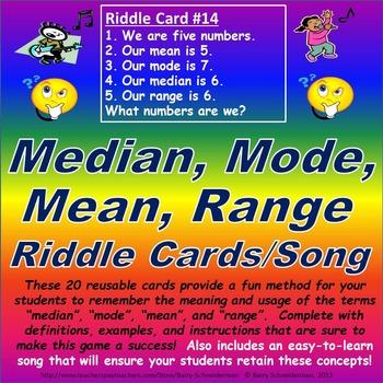 Median, Mode, Mean, Range Riddle Card Challenge (Song Included!)